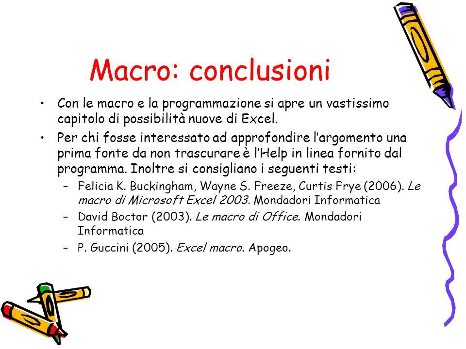 Macro: conclusioni Con le macro e la programmazione si apre un vastissimo capitolo di possibilità nuove di Excel.