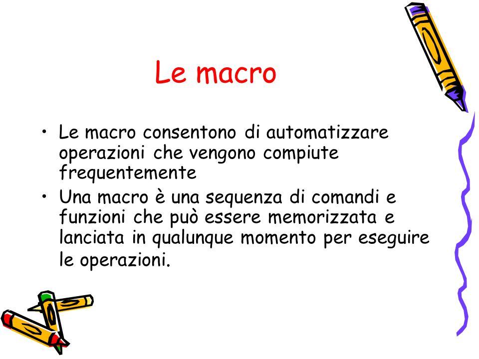 Le macro Le macro consentono di automatizzare operazioni che vengono compiute frequentemente.