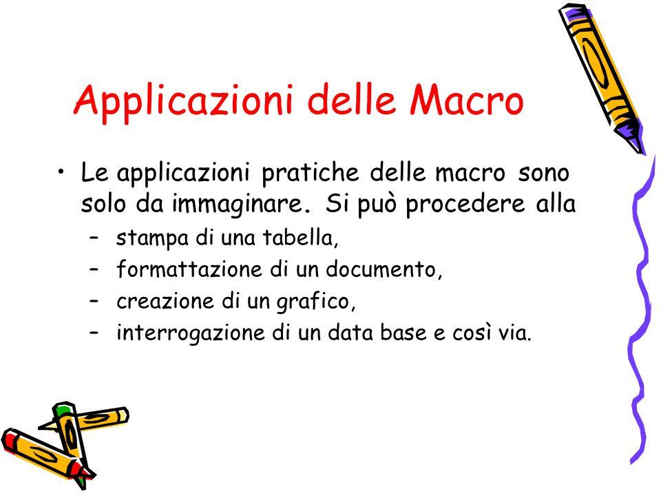 Applicazioni delle Macro