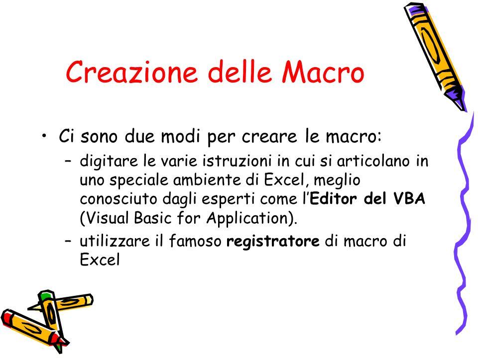 Creazione delle Macro Ci sono due modi per creare le macro:
