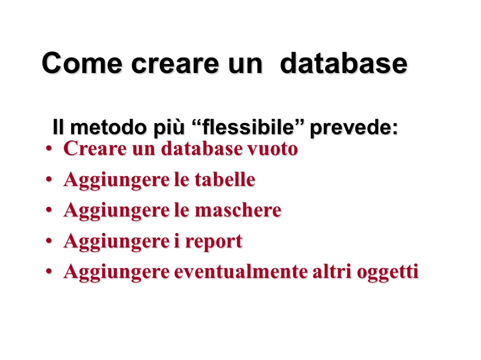 Come creare un database