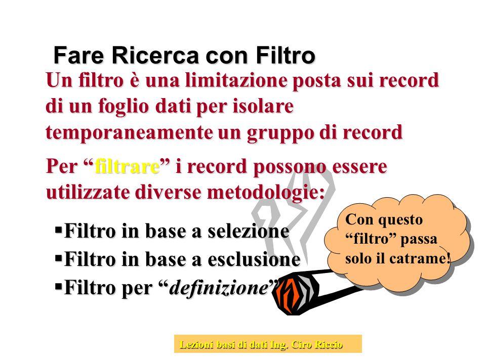 Fare Ricerca con Filtro