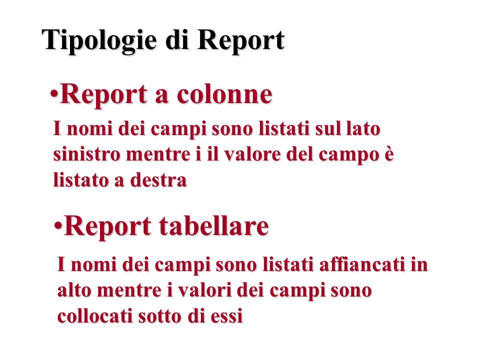 Tipologie di Report Report a colonne Report tabellare