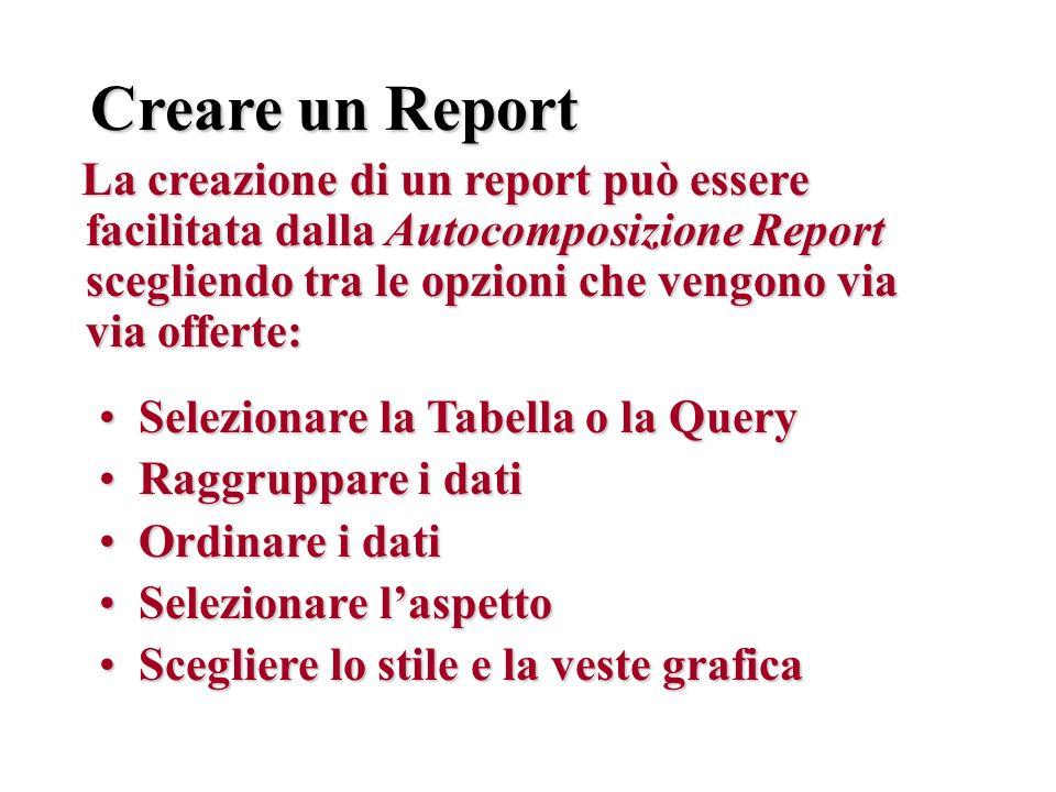 Creare un Report La creazione di un report può essere facilitata dalla Autocomposizione Report scegliendo tra le opzioni che vengono via via offerte: