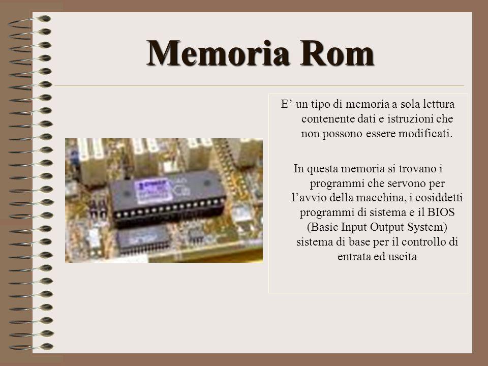 Memoria Rom E' un tipo di memoria a sola lettura contenente dati e istruzioni che non possono essere modificati.