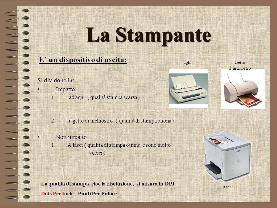 La Stampante E' un dispositivo di uscita: Si dividono in: Impatto: