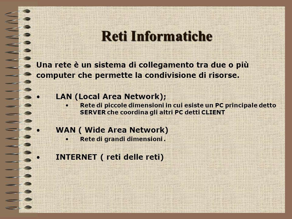 Reti Informatiche Una rete è un sistema di collegamento tra due o più