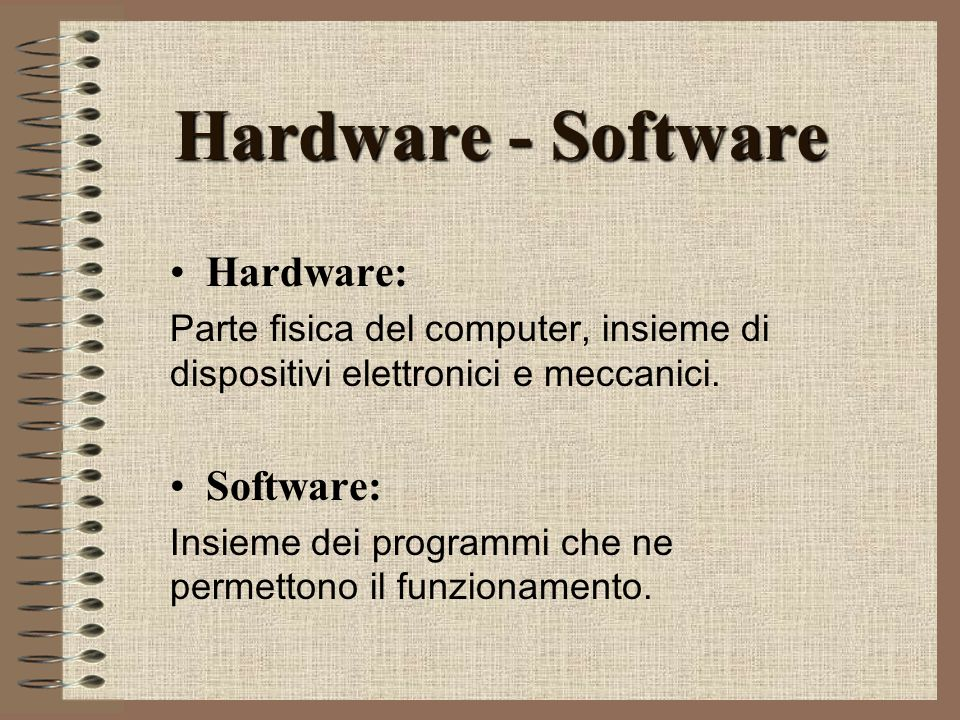 Hardware - Software Hardware: Software: