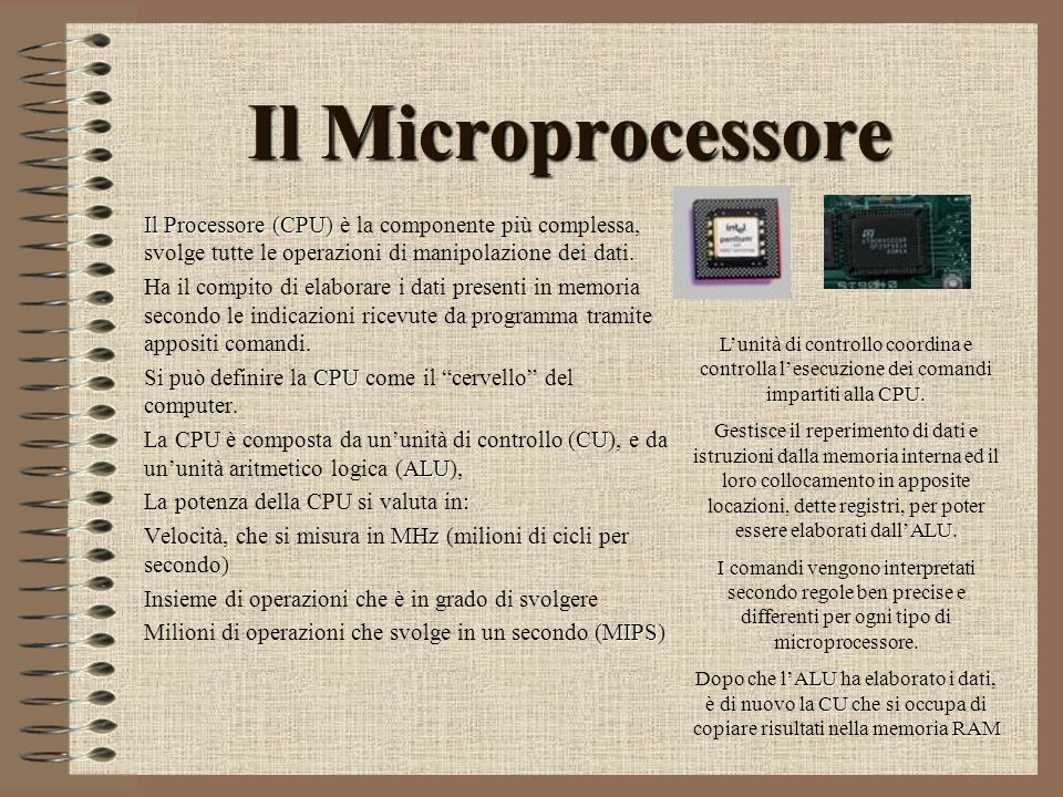 Il Microprocessore Il Processore (CPU) è la componente più complessa, svolge tutte le operazioni di manipolazione dei dati.