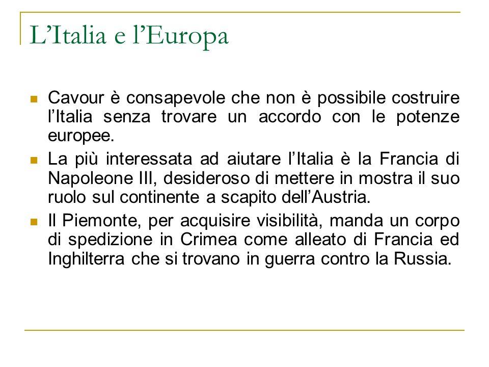 L'Italia e l'Europa Cavour è consapevole che non è possibile costruire l'Italia senza trovare un accordo con le potenze europee.