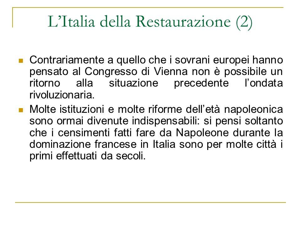 L'Italia della Restaurazione (2)