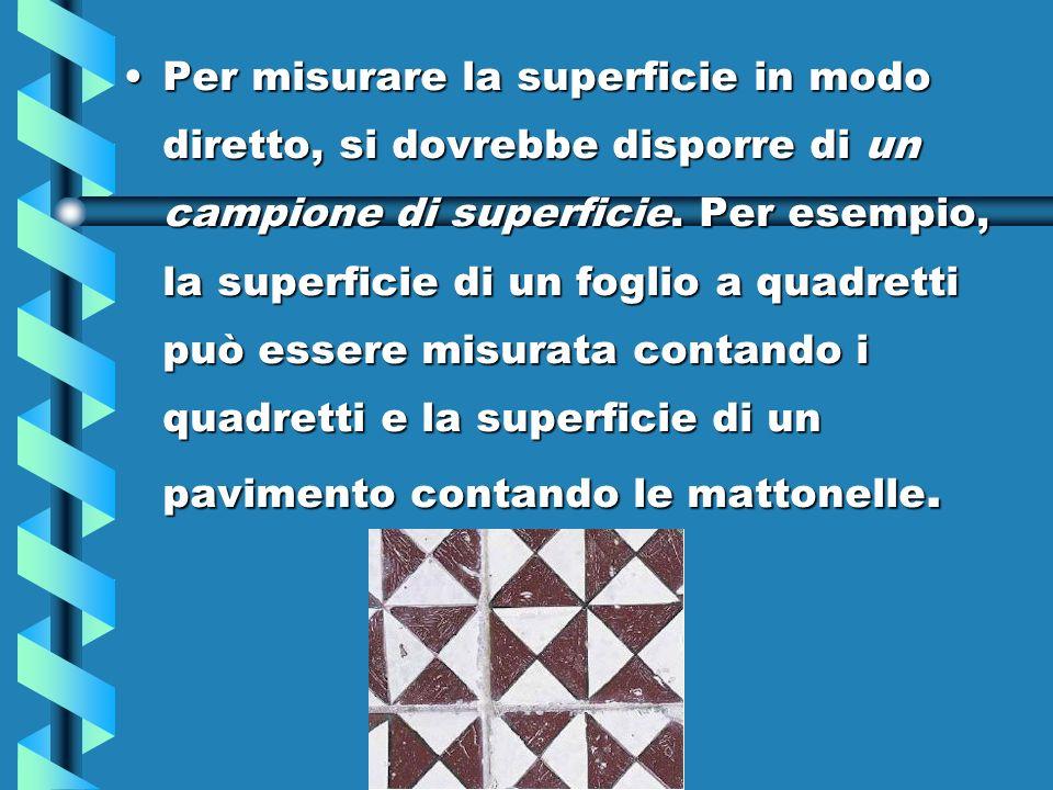 Per misurare la superficie in modo diretto, si dovrebbe disporre di un campione di superficie.