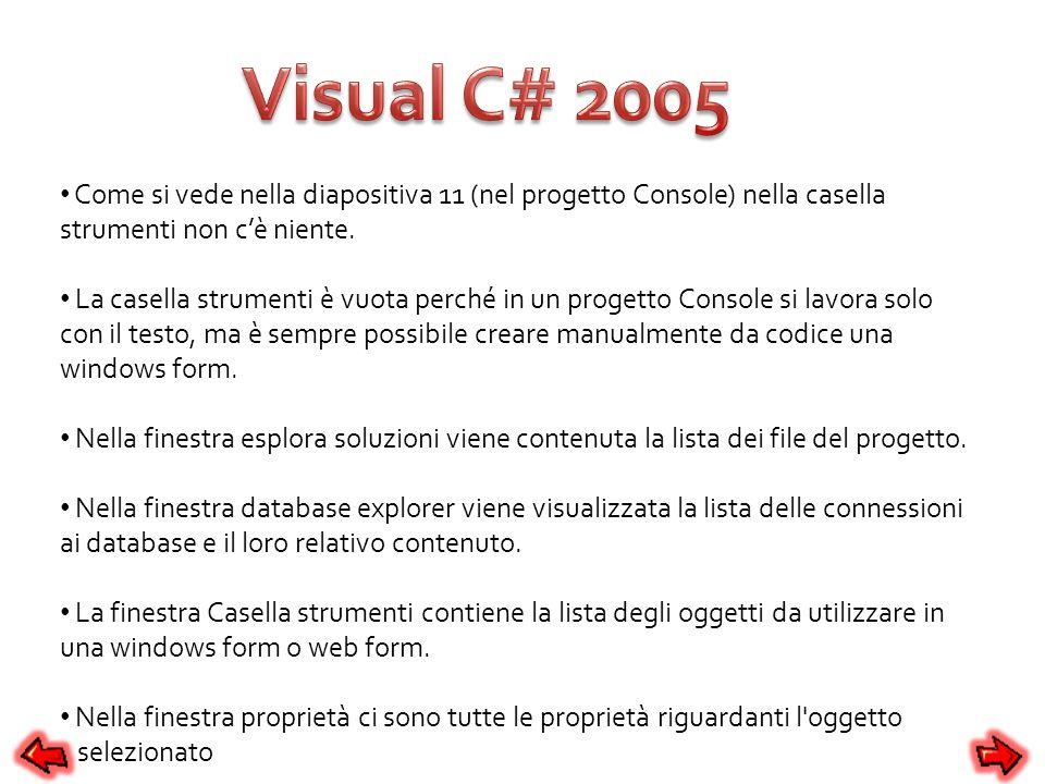 Visual C# 2005 Come si vede nella diapositiva 11 (nel progetto Console) nella casella strumenti non c'è niente.