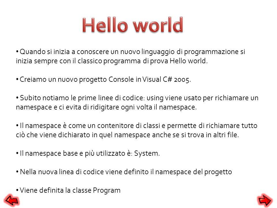 Hello world Quando si inizia a conoscere un nuovo linguaggio di programmazione si inizia sempre con il classico programma di prova Hello world.