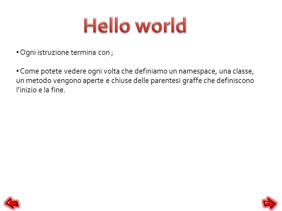 Hello world Ogni istruzione termina con ;