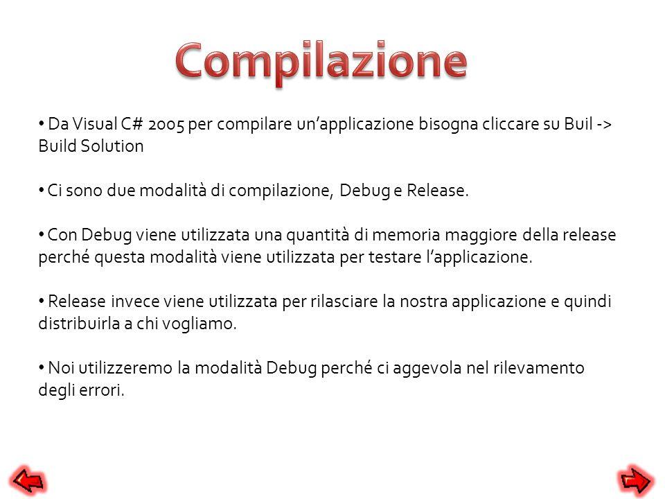 Compilazione Da Visual C# 2005 per compilare un'applicazione bisogna cliccare su Buil -> Build Solution.