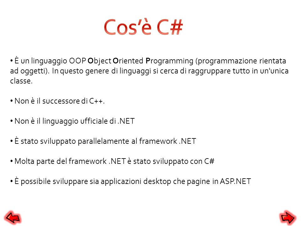 Cos'è C#