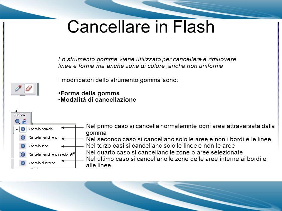 Cancellare in Flash Lo strumento gomma viene utilizzato per cancellare e rimuovere linee e forme ma anche zone di colore ,anche non uniforme.