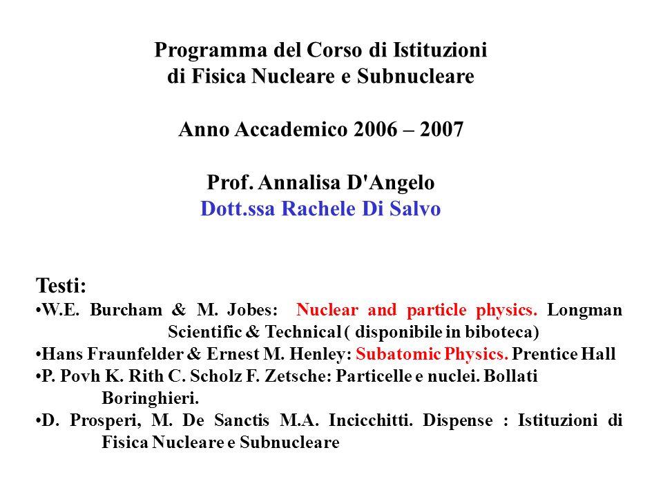 Programma del Corso di Istituzioni di Fisica Nucleare e Subnucleare