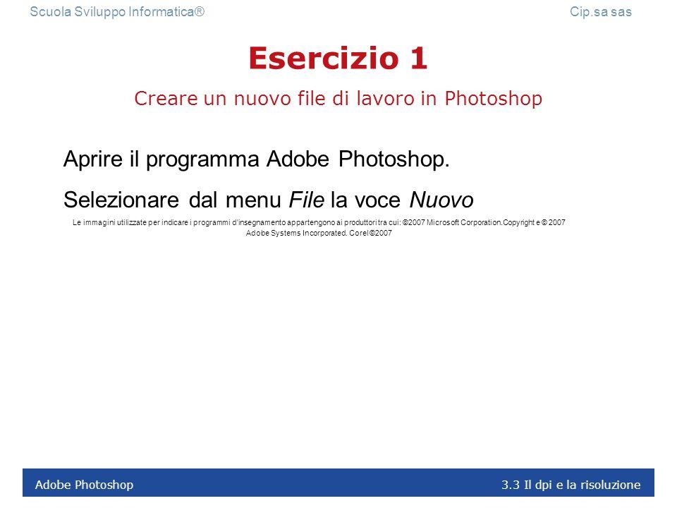 Creare un nuovo file di lavoro in Photoshop