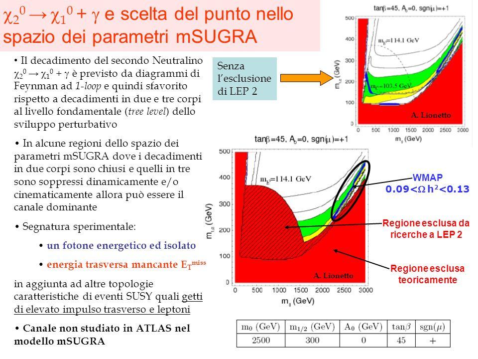 c20 → c10 + g e scelta del punto nello spazio dei parametri mSUGRA