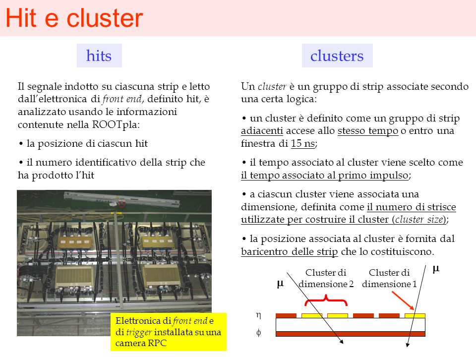 Hit e cluster hits clusters m m