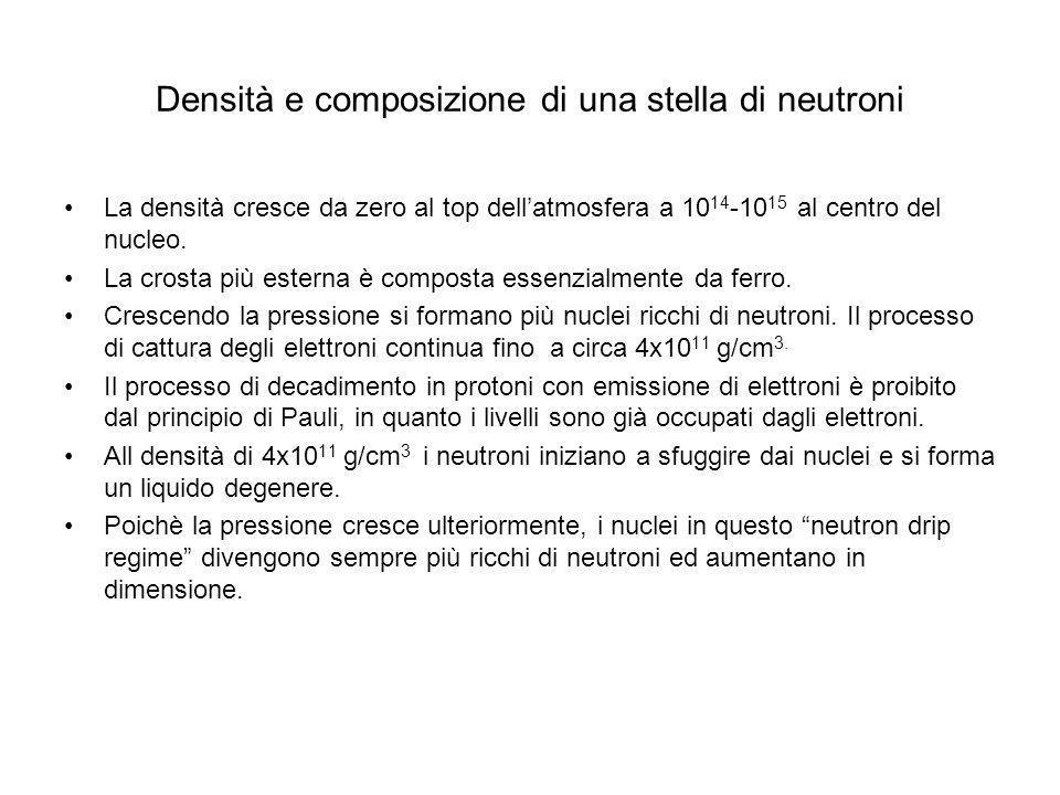Densità e composizione di una stella di neutroni
