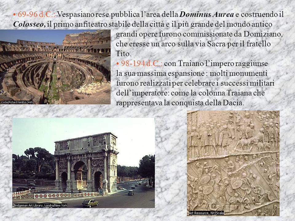 69-96 d.C.: Vespasiano rese pubblica l'area della Dominus Aurea e costruendo il Colosseo, il primo anfiteatro stabile della città e il più grande del mondo antico