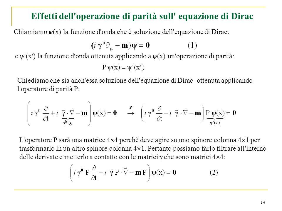 Effetti dell operazione di parità sull equazione di Dirac