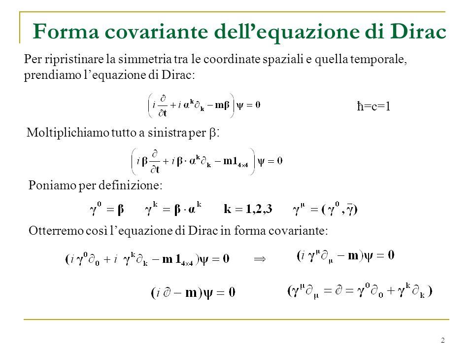 Forma covariante dell'equazione di Dirac