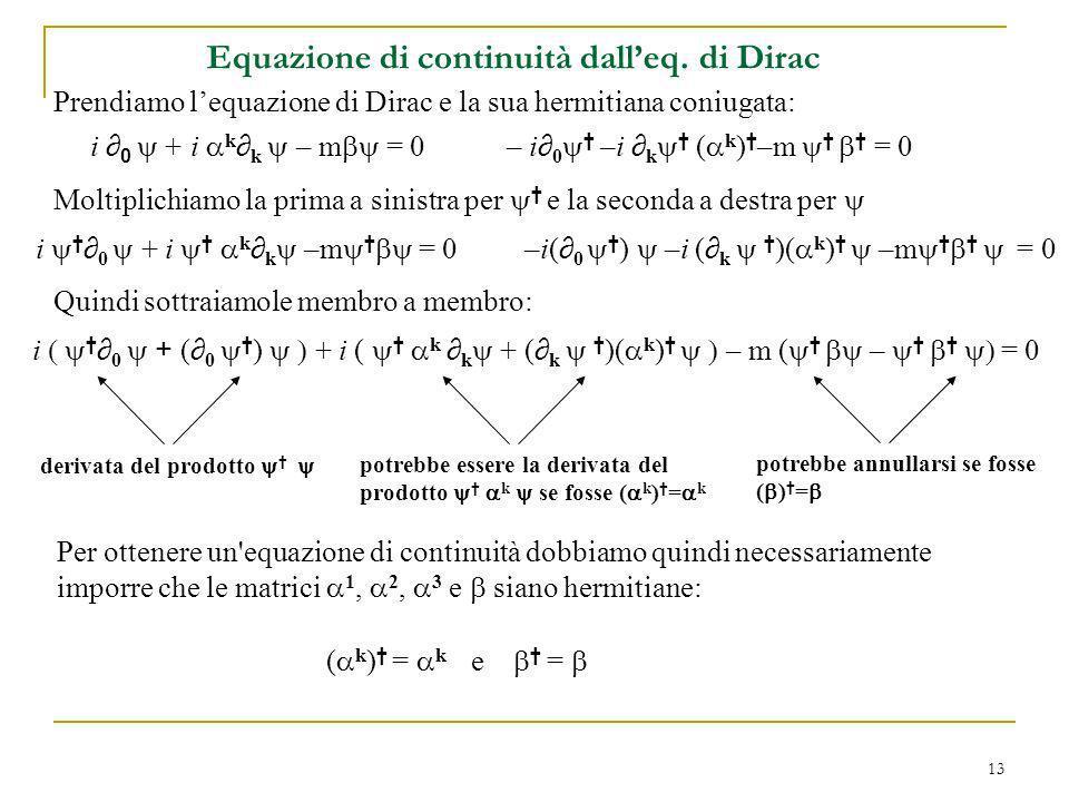 Equazione di continuità dall'eq. di Dirac