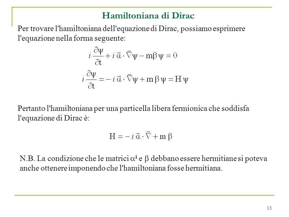 Hamiltoniana di Dirac Per trovare l hamiltoniana dell equazione di Dirac, possiamo esprimere l equazione nella forma seguente:
