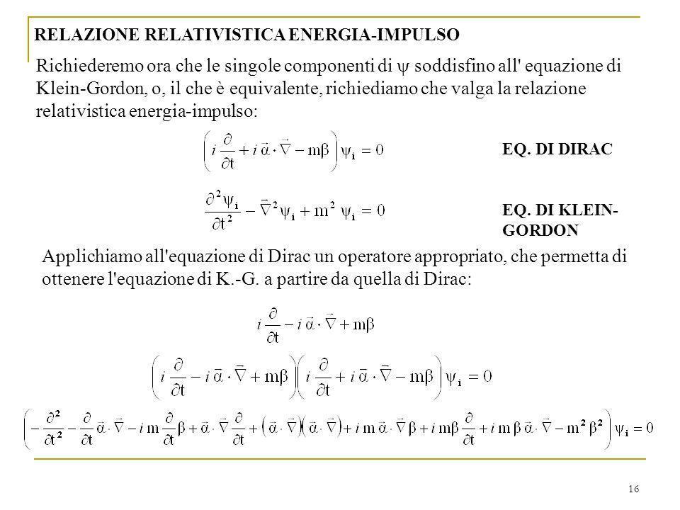 RELAZIONE RELATIVISTICA ENERGIA-IMPULSO