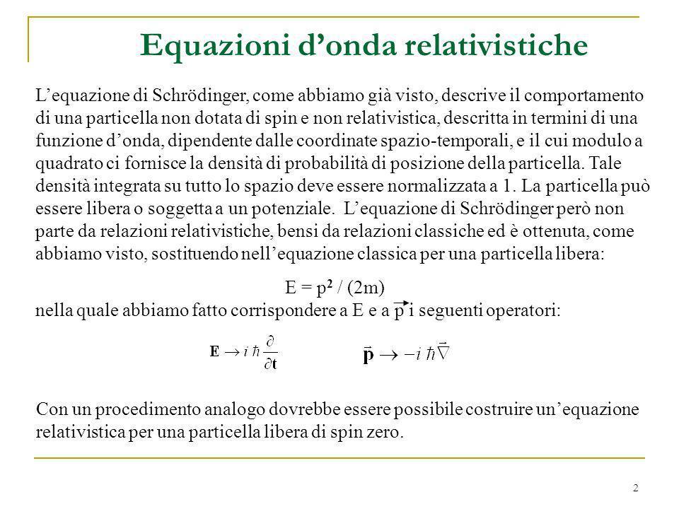 Equazioni d'onda relativistiche
