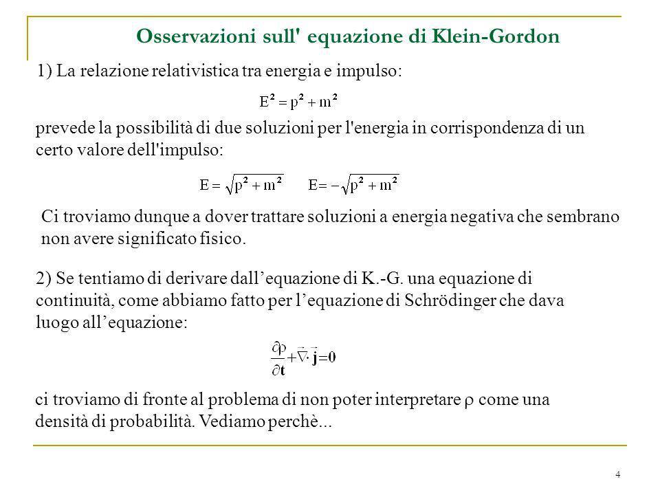 Osservazioni sull equazione di Klein-Gordon