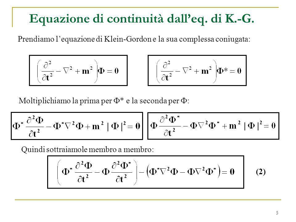 Equazione di continuità dall'eq. di K.-G.