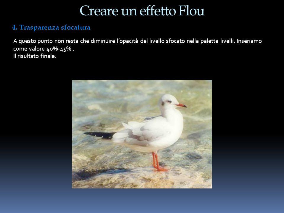Creare un effetto Flou 4. Trasparenza sfocatura