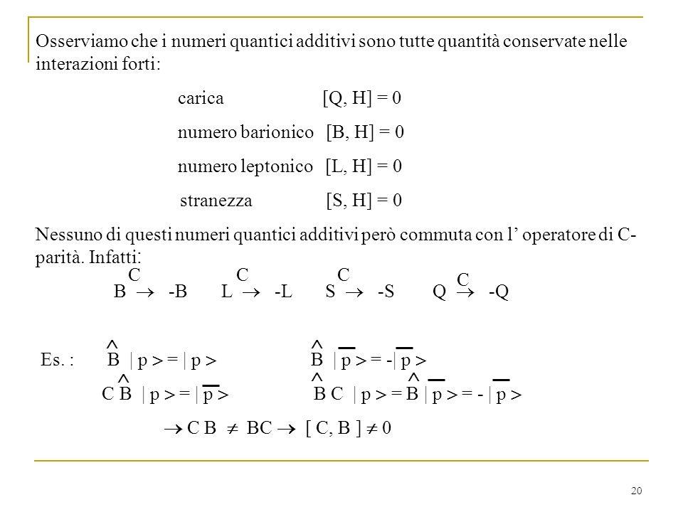 Osserviamo che i numeri quantici additivi sono tutte quantità conservate nelle interazioni forti: