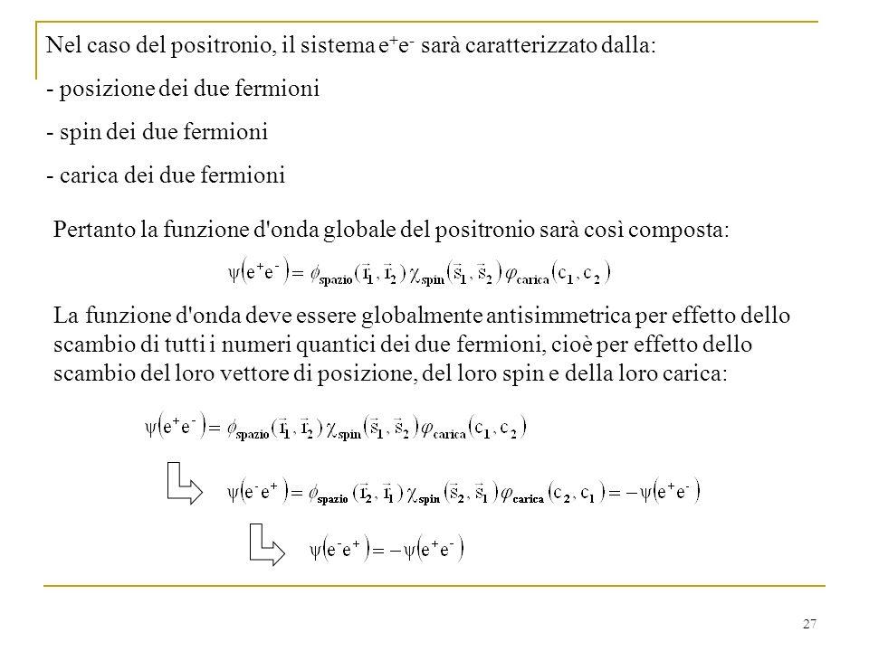 Nel caso del positronio, il sistema e+e- sarà caratterizzato dalla: