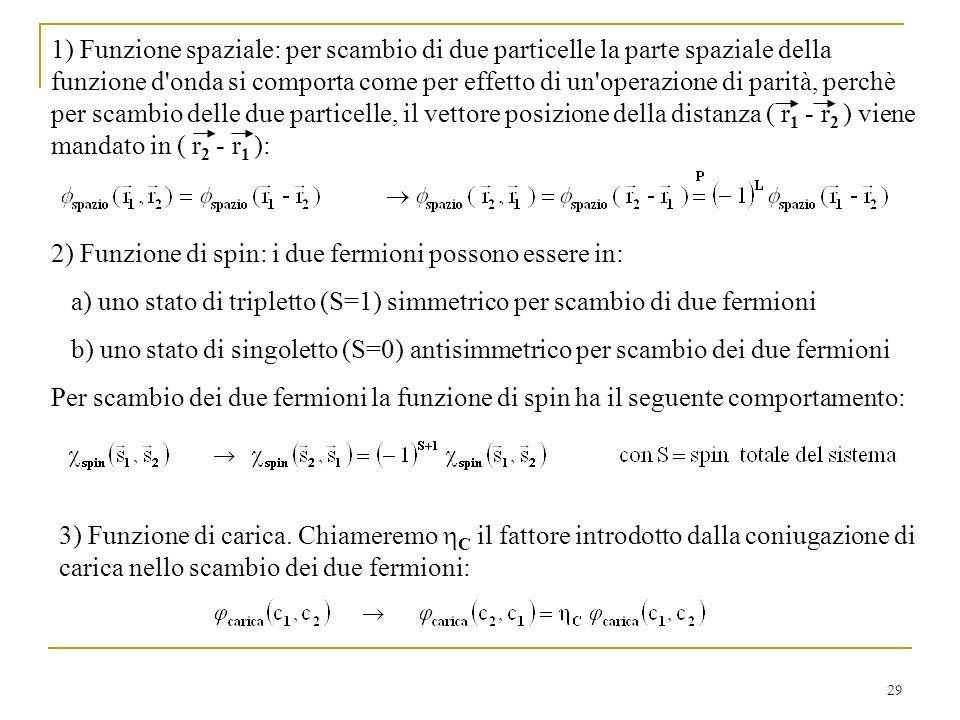 1) Funzione spaziale: per scambio di due particelle la parte spaziale della funzione d onda si comporta come per effetto di un operazione di parità, perchè per scambio delle due particelle, il vettore posizione della distanza ( r1 - r2 ) viene mandato in ( r2 - r1 ):