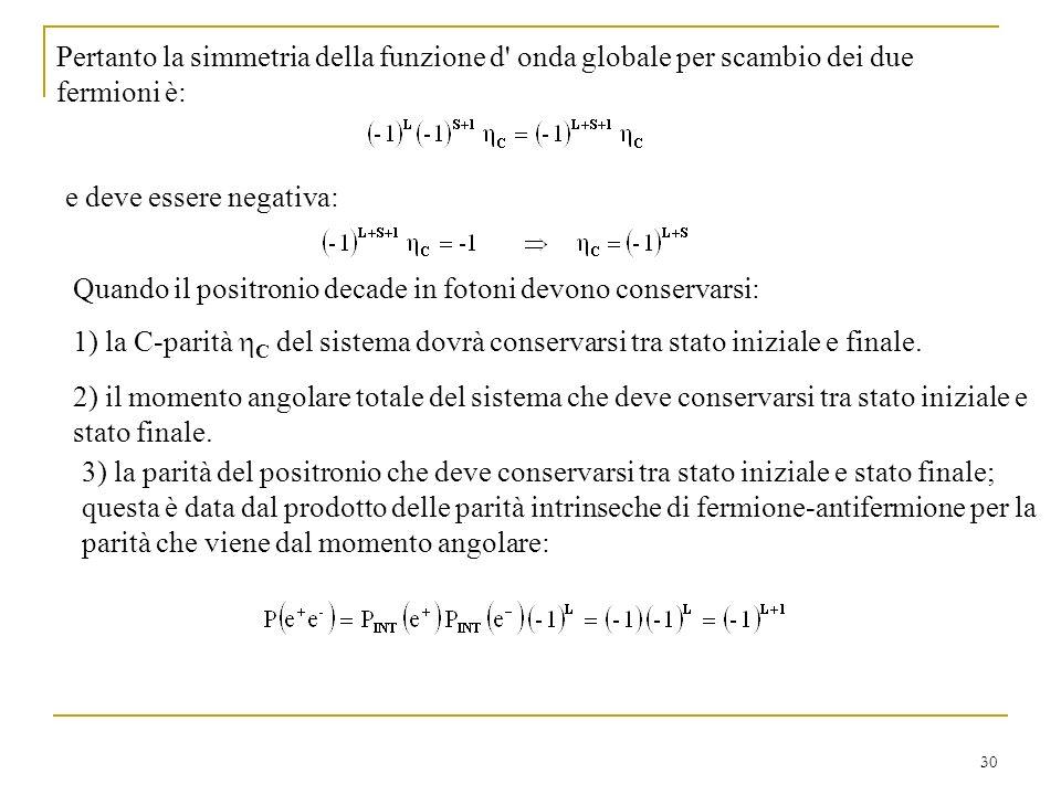 Pertanto la simmetria della funzione d onda globale per scambio dei due fermioni è: