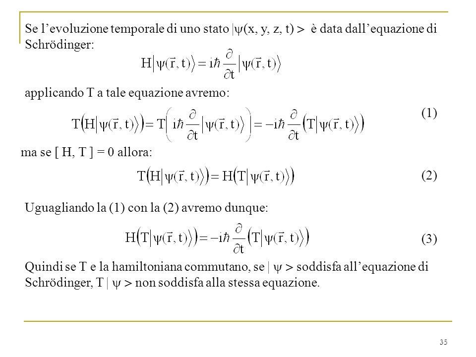 Se l'evoluzione temporale di uno stato |(x, y, z, t)  è data dall'equazione di Schrödinger: