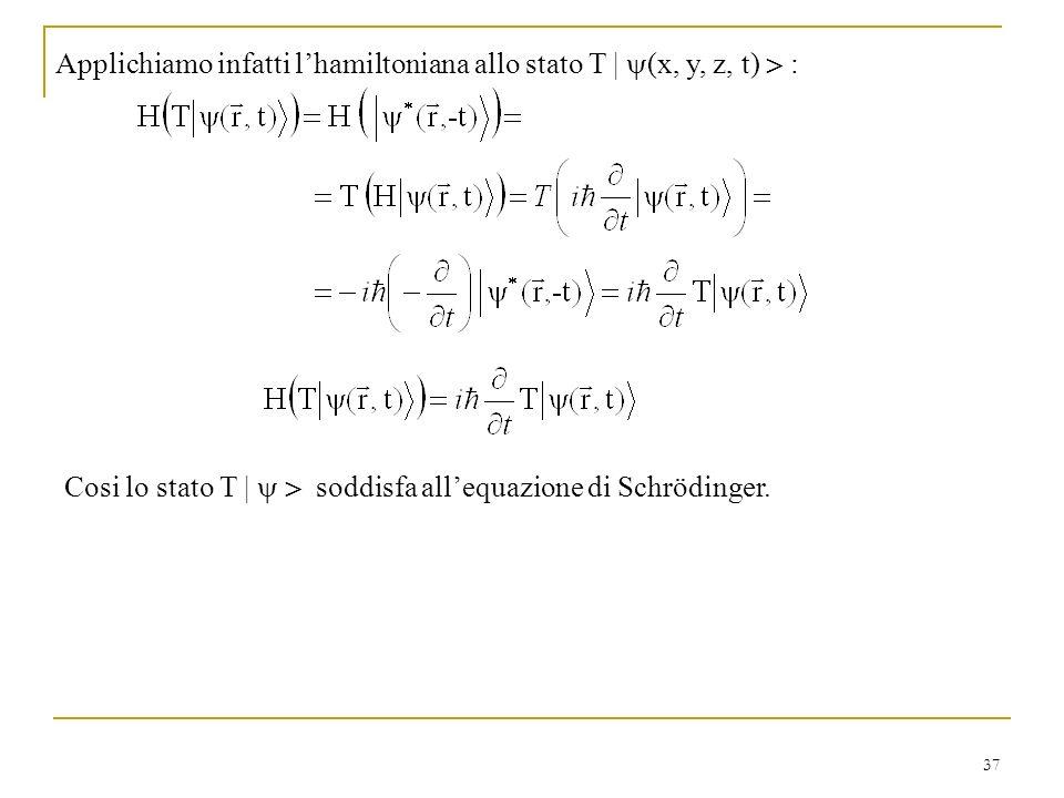 Applichiamo infatti l'hamiltoniana allo stato T | (x, y, z, t)  :