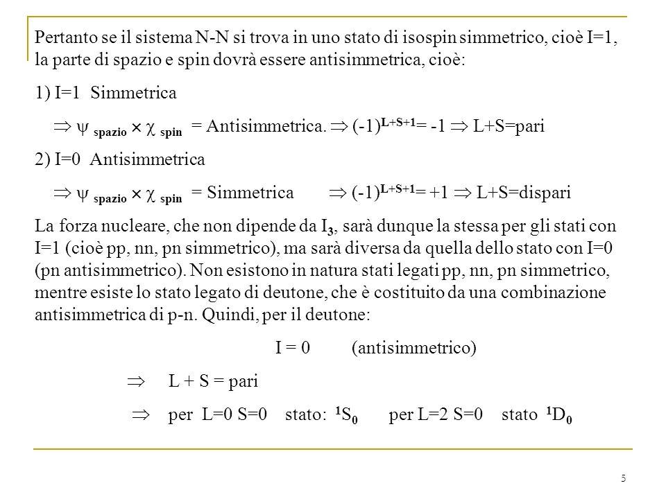 Pertanto se il sistema N-N si trova in uno stato di isospin simmetrico, cioè I=1, la parte di spazio e spin dovrà essere antisimmetrica, cioè: