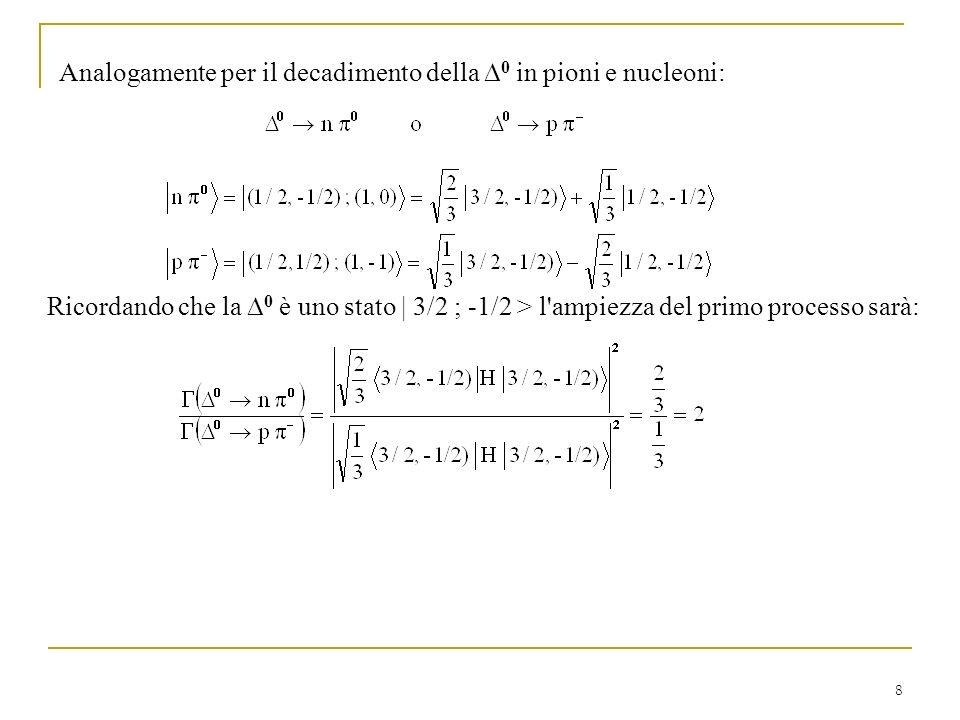 Analogamente per il decadimento della D0 in pioni e nucleoni: