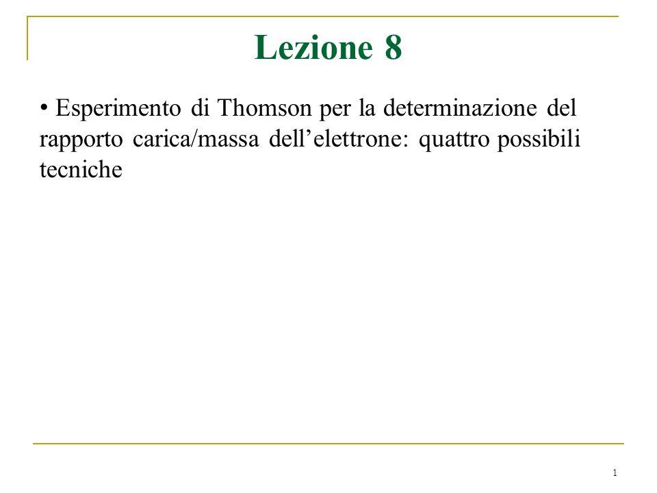 Lezione 8Esperimento di Thomson per la determinazione del rapporto carica/massa dell'elettrone: quattro possibili tecniche.