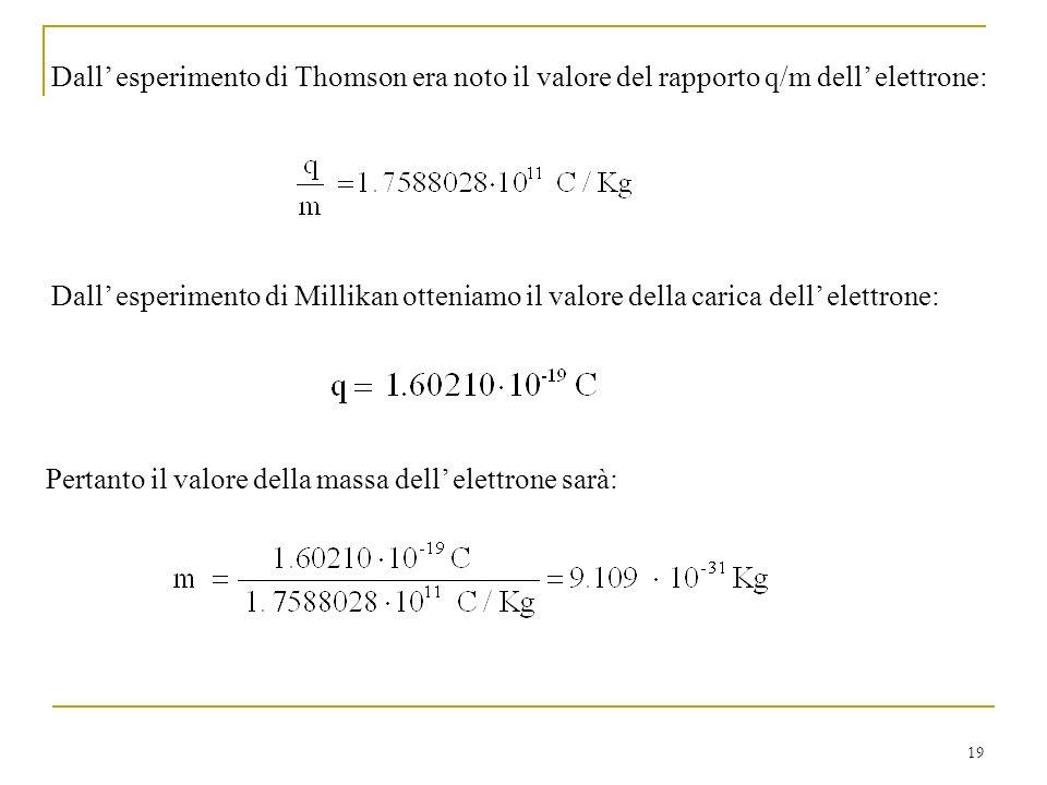 Dall' esperimento di Thomson era noto il valore del rapporto q/m dell' elettrone: