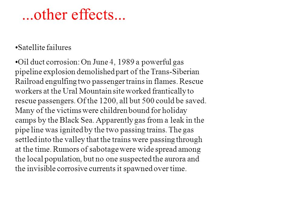...other effects... Satellite failures