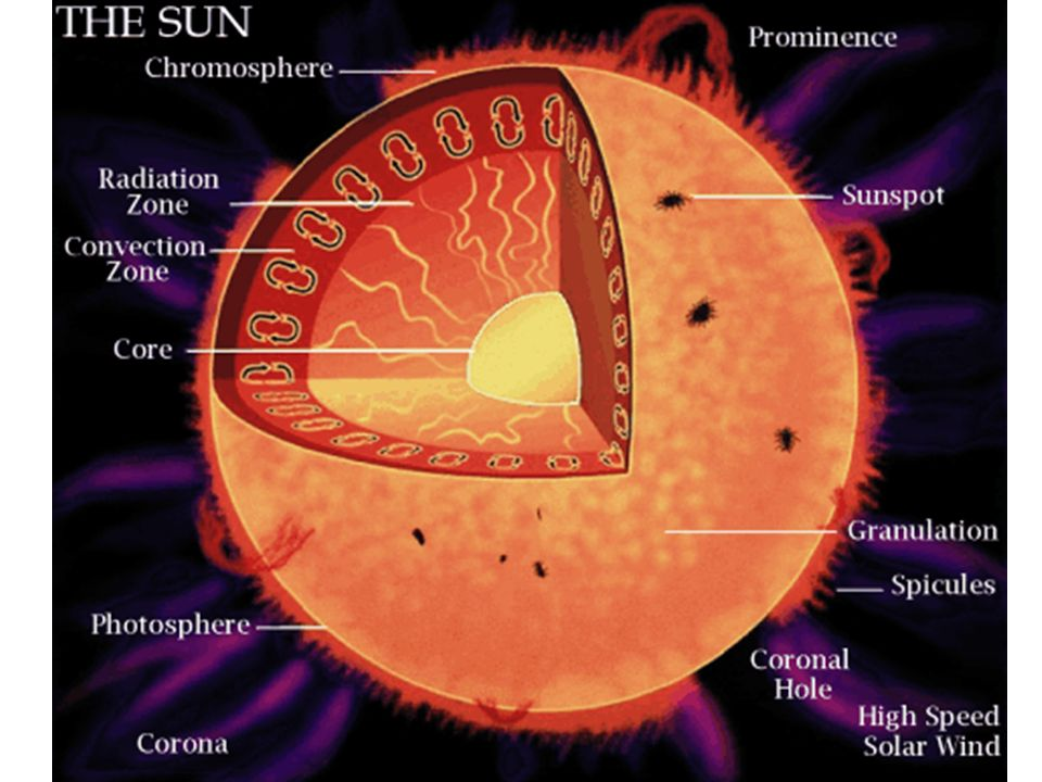 Solar structure Core Radiative zone Convection zone Photosphere Chromosphere Corona