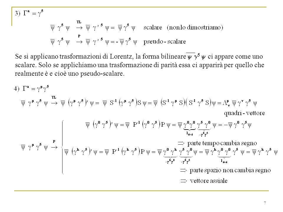 Se si applicano trasformazioni di Lorentz, la forma bilineare y g5 y ci appare come uno scalare.